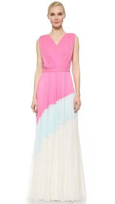 J. Mendel Плиссированное вечернее платье с цветными блоками