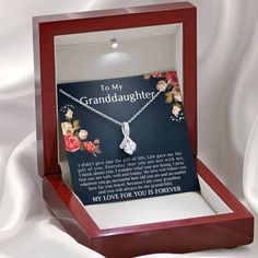 To My Granddaughter My Love Will Follow You Forever   Etsy 14 Year Anniversary Gift, Personalized Anniversary Gifts, Gifts For Fiance, Sentimental Gifts, Engagement Gifts, Bride Gifts, Ribbon Design, White Gold, Stainless Steel