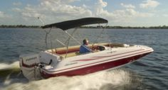 """The Hurricane SunDeck Sport SS 201 OB has a rated capacity for 11. She has a LOA of 20'1"""" (6.13 m) and a beam of 102"""" (2.59 m). We tested the SunDeck 201 with a Evinrude E-TEC 135 H.O. but she's rated for up to 200–hp."""