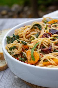 This light Mediterranean Pasta is inspired by Mediterranean flavors of garlic, olives, lemon, basil and tomatoes. It's a great weeknight vegetarian meal in under 30 minutes. Seafood Pasta Recipes, Pasta Dinner Recipes, Easy Pasta Recipes, Veggie Recipes, Pasta Meals, Spinach Recipes, Lemon Recipes, Vegetarian Main Dishes, Vegetarian Dinners