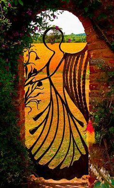 Angel gate at Birtsmorton Court, England.