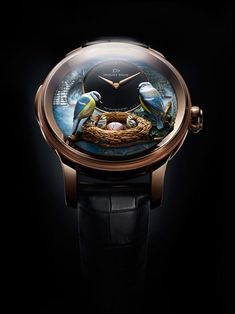 Jaquet Droz Bird Repeater is inspired by the brand's namesake, Pierre Jaquet-Droz, known for his automaton creations, which often featured birds. A push-button triggers the minute repeater, which strikes the hours, quarters, and minutes as the birds on the dial come to life. The system uses a cathedral gong whose resonant, mellow tones are generated by two turns around the mechanism