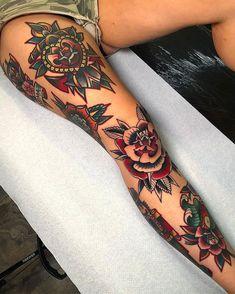 New Ideas Tattoo Leg Women Old School - Cute Tattoos Girl Leg Tattoos, Leg Tattoos Women, Girls With Sleeve Tattoos, Tattoo Girls, Body Art Tattoos, Tattoo Women, Back Leg Tattoos, Tatoos, Henna Tattoos