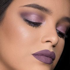 Learn how to apply shimmery purple eyeshadow and purple matte liquid lipstick with this easy makeup tutorial for a cool-toned monochromatic makeup look by Maybelline. Purple Lipstick Makeup, Purple Makeup Looks, Prom Makeup Looks, Liquid Lipstick, Purple Wedding Makeup, Purple Eyeshadow Looks, Bridal Makeup, Eye Makeup Tips, Mac Makeup