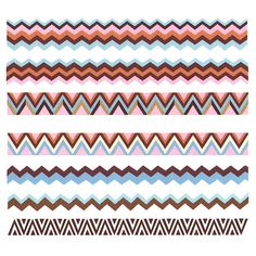 Nail Art Water Decals Sticker - Sweet Decals - Colorful Chevron Stripes