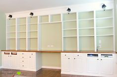 Wall-to-Wall Built-In Desk and Bookcase   Home Is Where My Heart Is featured on Remodelaholic.com #built-ins #storage #studyarea