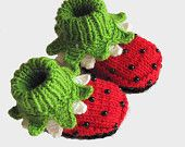 Baby booties Red Strawberry / 03 M by MiaPiccina on Etsy. $22.00, via Etsy.