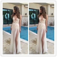 V-Neck A-Line Appliques Real Made Long Evening Dresses/ Sexy Prom Dresses #L07