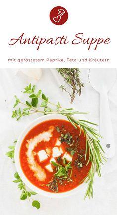 Suppen Rezepte, Paprika Rezepte: Rezept für eine leckere, mediterrane Suppe mit gerösteten Paprika, vielen Kräutern und Feta! So schmeckt der Sommer #vegetarisch #suppe #paprika #mediterran #feta #käse #sommer #einfach #sommer