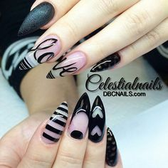Black and clear stiletto nails