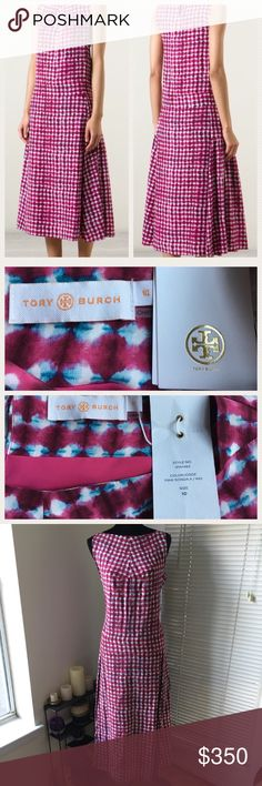Tory Burch madras print silk dress Tory Burch tie dye dress from the Spring 2015 runway collection. A silk crepe de Chine midi dress patterned in an abstract madras print gives it a tie dye feel. Pullover style with a single button closure at the neck. Boatneck with a dropped waist and fluid pleats. NWT Tory Burch Dresses