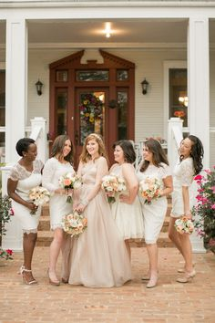 bridesmaids in mismatched lace.