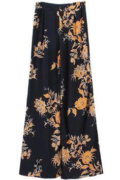 Yellow Floral Print Wide Leg Pants ==