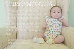 Monthly baby photos with sweet notes about milestones.