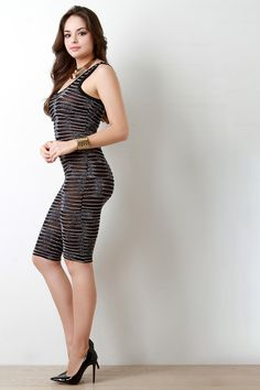 This stylish romper features a semi-sheer mesh underlay with metallic foil overlay design, scoop neckline and back, and sleevess fit. Cute Brunette, Brunette Models, Sexy Dresses, Dress Outfits, Fashion Dresses, Fashion Models, Girl Fashion, Womens Fashion, Indian Dresses Traditional