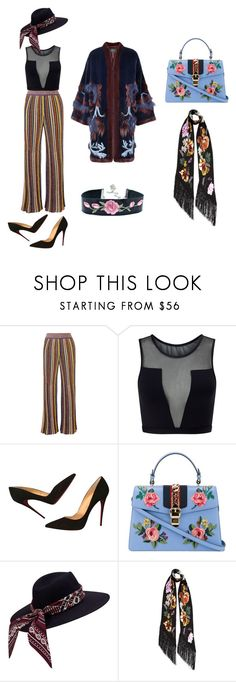 """70s inspired women look"" by anthony-broad ❤ liked on Polyvore featuring Missoni, Varley, Christian Louboutin, Gucci and Rockins"