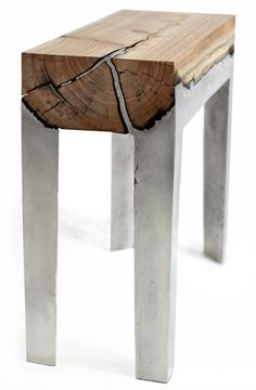 Wood Casting, Hilla Shamia pours molten aluminum directly onto tree trunks to create unique natural and modern pieces.