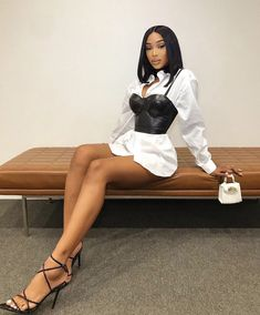 Bustier leather strap corset white shirt dress boujee fashion cute mini outfit Source by Beccachronicles outfits baddie White Shirt Outfits, Boujee Outfits, Summer Outfits, Fashion Outfits, Womens Fashion, Fashion Trends, White Shirt Dresses, Fashion Fashion, Black Girl Fashion