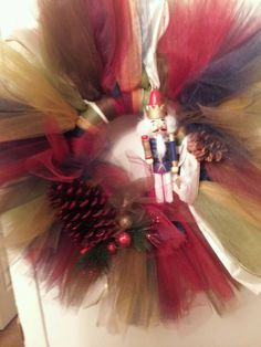 #Nutcracker theme tulle wreath  Holiday theme #candy #cane tulle wreath  Christmas holiday wreath theme #tulle #wreath #snowflake #angel #green #red #flower #sparkle #white #crafts #christmas #winter #wonderland #made #to #order #theme