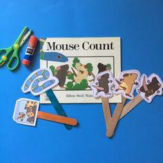 Free Mouse Counts Puppet Sticks ~ Preschool Printables