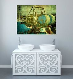 Wall art print of fishermen's net boat. Aqua blue by Key2MyArt