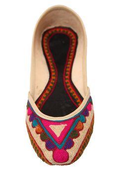 Fuchsia Ballet Flats Leather Khussa Ivory Beige by FuchsiaFootwear