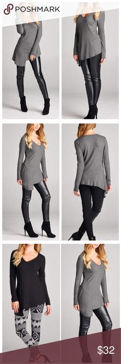 """🆕 Gray Ribbed Long Sleeve Top Gray Ribbed Long Sleeve Top featuring a V neckline and asymmetrical hem. Made of Rayon/spandex blend. Also available in black in my closet. Measurements for small: laying flat from pit to pit 16""""/ length 25"""". MADE IN USA Bchic Tops"""