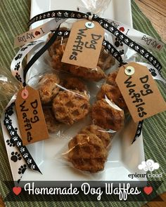 Homemade Dog Waffles (A version of Laura's Doggie Donuts)  My sister-in-law,Laura, makes these cute little doggie donut treats for  her 3 furry family members:Bella, Chimay and Kobe. I don't have the  electric donut maker that she does, so I tried them in my waffle maker. I  also added some brewer's yeast which I have seen in other dog biscuit  recipes.   Measure into medium bowl 2 cups flour and other dry ingredients: (You can use whatever flour combination you like.) • 1 cup whole…