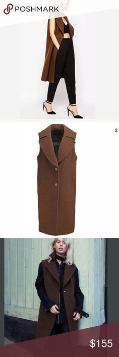 ASOS GESTUZ MARLOWE Dark Brown Long Vest 34 (S) This is a great layering piece for the current chilly weather!  Beautiful Rich Brown color - looks very very high end, clean lines - very luxe! Brand:  Gestuz Color:  Dark Brown Tag Size:  34 (Small) Retail:  $450.00 Condition:  Pre-owned / Excellent Condition Outer fabric material:80% wool, 20% polyamide Gestuz Jackets & Coats Vests