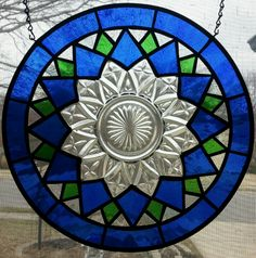 Stained glass depression era or vintage plate panel