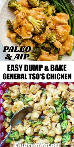 Easy Dump & Bake GENERAL TSO'S CHICKEN is super fast to assemble and cook. An easy homemade version of the famous Chinese takeout, this is the Paleo and AIP version! Chicken breast, broccoli and the quick sauce are baked together in a casserole dish to make a no-fuss, healthy and fresh weeknight meal! | Eat Beautiful Recipes | dump and bake | general tso's chicken | paleo | aip | #paleo #aip #chicken #generaltsoschicken #dumpandbake #baked #easy Quick Paleo Meals, Paleo Chicken Recipes, Quick Dinner Recipes, Paleo Recipes, Real Food Recipes, Paleo Dinner, Free Recipes, Tso Chicken, General Tso