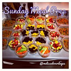 Sunday meal prep! By preparing the weeks snacks and lunches it makes it much easier to commit to a healthy diet. We now have several small meals ready to go. Helps us eat 5-6 small meals a day - key to keep the metabolism going Healthy Freezer Meals, Make Ahead Meals, Healthy Meal Prep, Healthy Foods To Eat, Healthy Cooking, Healthy Snacks, Healthy Eating, Cooking Recipes, Healthy Recipes