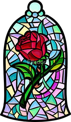 beauty and the beast stained glass art rose tattoos / beauty and the beast stained glass art rose tattoos Disney Stained Glass, Stained Glass Rose, Stained Glass Patterns, Disney Kunst, Arte Disney, Disney Diy, Disney Drawings, Art Drawings, Beauty And The Beast Tattoo