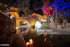Stock Photo : Dashi bridge in Lijiang at night, Yunnan, China, Asia