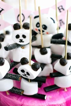 DIY Panda Party Skewers made with marshmallows, black licorice, and black edible ink pen