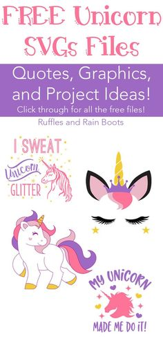 Get these 100 percent FREE unicorn SVG graphics files for crafts, gifts, and more! #unicorn #freeSVG via @momtoelise
