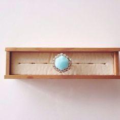 Natural stone larimar ring | chouchou