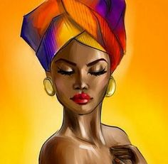 SmileArtDesign Naked African Woman Head Wrap in Yellow Modern Art Painting Canvas Print Wall Art African American Living Art Room Bedroom Home Decor Ready to Hang Made in USA Art Black Love, Black Girl Art, Art Girl, Images D'art, L'art Du Portrait, Afrique Art, African Art Paintings, Black Art Pictures, Black Artwork