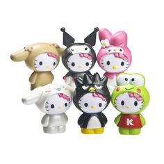6pcs/sets Japan Anime The Frog Hello kitty Cute Cat Figure Doll New Kids Gift | eBay