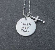 Hand Stamped Jewelry Faith Not Fear Necklace by klacustomcreations, $48.90