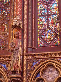 rich, colourful detail in Sainte-Chapelle.  Paris. (1239-1248)