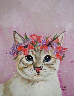 Cat painting cat wearing flowers gift for by VictoriaColemanArt