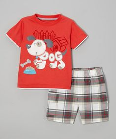 Loving this Red Doggy Tee & Plaid Cargo Shorts - Infant, Toddler & Boys on #zulily! #zulilyfinds