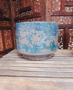 Gainey Planter Pot & Saucer Blue Brown Mid Century by welovelucite