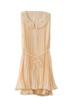 Beaded Neckline Beige Chiffon Dress