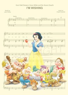 Snow White and the Seven Dwarfs Music Sheet Art by AmourPrints Disney Sheet Music, Sheet Music Art, Disney Songs, Disney Quotes, Disney Pixar, Walt Disney, Disney Characters, Deco Disney, Disney Love