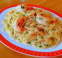 One Perfect Bite: Table for Two - Lemon and Garlic Shrimp with Angel Hair Pasta