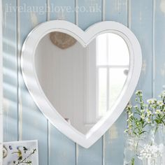 Antique Painted Hanging Heart Mirror