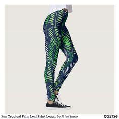4e60281af8dff Fun Tropical Palm Leaf Print Leggings/Navy Blue Leggings #tropical #workout  #yoga