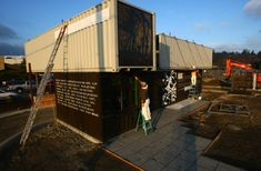 Container drive thru restaurant. Container Cafe, Cargo Container Homes, Container Buildings, Container Architecture, Container House Design, Building Structure, Building Design, Used Shipping Containers, Commercial Architecture
